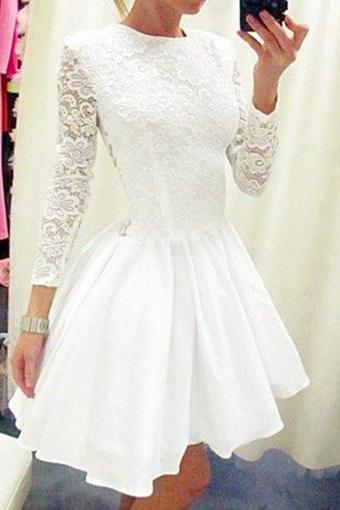 White Lace Prom Dress,Short Cute Prom Dresses,Long Sleeve Dress,Short Homecoming Dresses,Long Sleeves Homecoming Dress