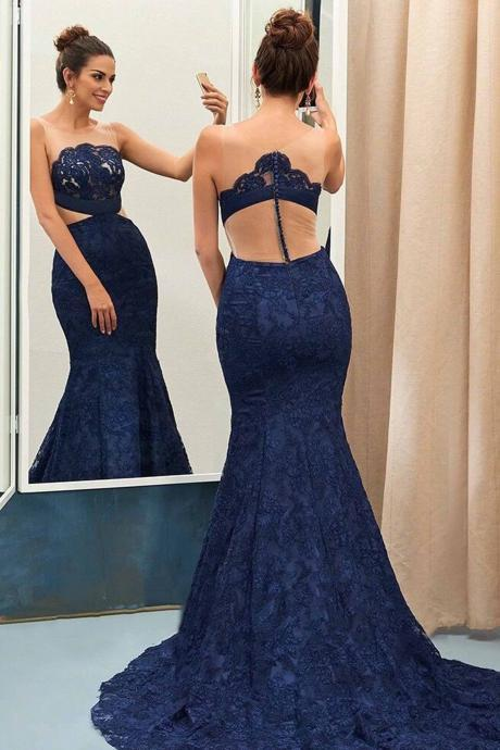 Unique Lace Mesh Prom Dress,See-through Porm Dresses,Mermaid Prom Dresses,Floor-length Sleeveless Evening Dress