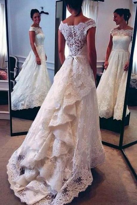 Elegant Lace Wedding Dress,Off The Shoulder Wedding Gown,Bridal Gown with Belt,Beach Wedding Dresses,Long Wedding Dress 2017