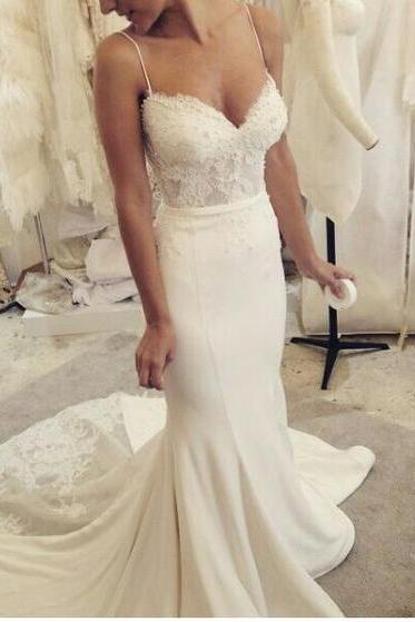 Spaghetti Straps Sweetheart Wedding Dress,Sexy Lace Pearl Mermaid Wedding Dresses,Satin Wedding Gown,Bridal Dresses 2017,Beach Wedding Dress