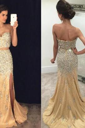 Sexy Split Side Prom Dress,2017 Prom Dress,Mermaid Prom Dresses,Sweetheart Prom Dress,Beaded Prom Dress, Two-piece Prom Dress,Mermaid Evening Gown,Long Prom Dresses