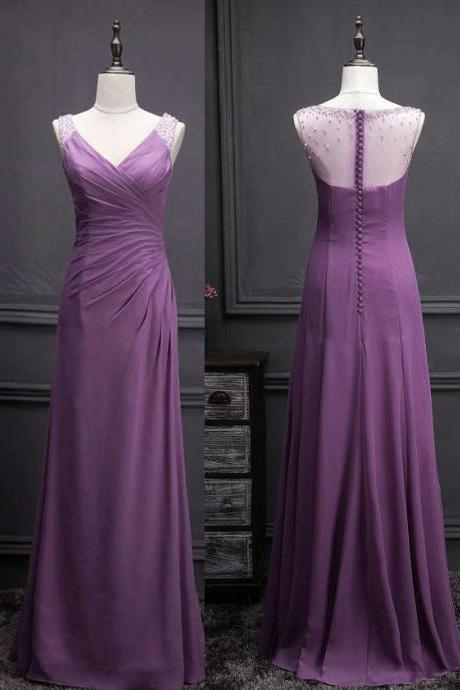 A-line Dark Purple Bridesmaid Dress with Beads,V-neck Sleeveless Bridesmaids Dresses,Backless Party dress,Formal Dress,Formal Gown,B001