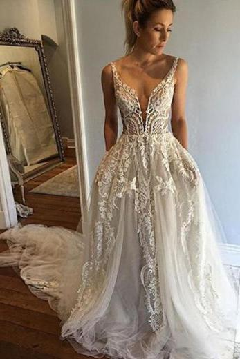 Deep V-Neck Wedding Dress,A-line Wedding Dress With Court Train,Ivory Sleeveless Appliques Wedding Dress with Lace,Beach Wedding Dress,W004