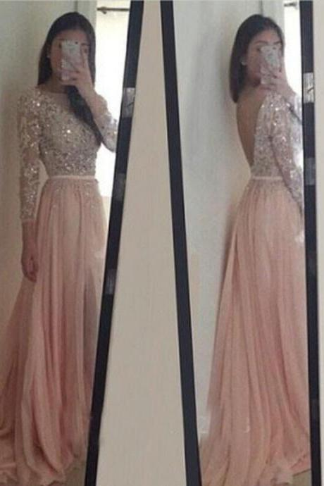 Blush Pink Long Sleeve Prom Dresses,Long Sleeves Dresses,Sheath Party Dress, Backless Prom Gown,Long Prom Dress,Prom Dress,P015