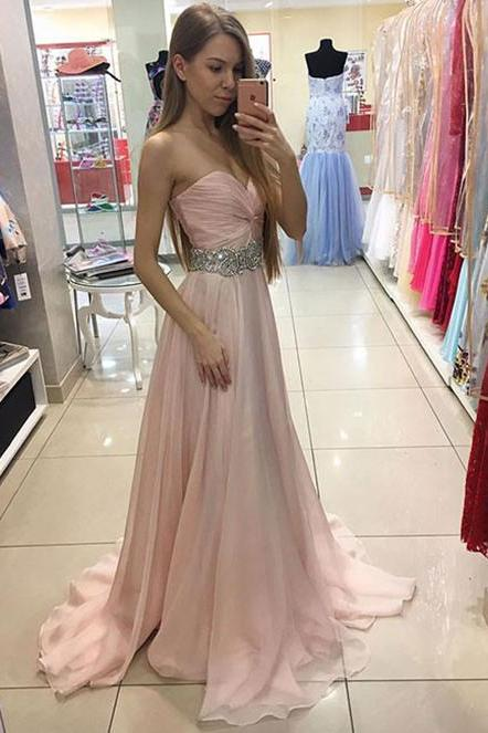 Sweetheart Prom Dress,Sexy Chiffon Beaded Pink Prom Dress,Long Strapless Prom Dresses,Chiffon Formal Gown,Long Party Dress With Draped Bodice,P020