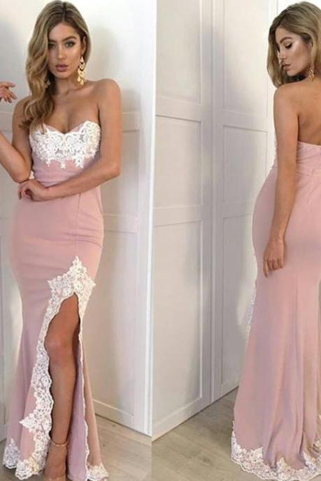 Mermaid Prom Dresses,Prom Dress 2017,Side Slit Prom Dress,Sweetheart Slit Formal Gown Embellished With Lace Appliques,Sexy Evening Dress,P030
