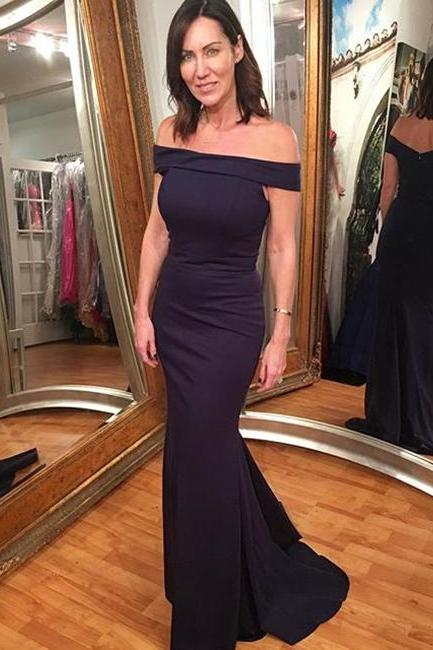 Gorgeous Off-the-shoulder Prom Dress,Navy Blue Mermaid Prom Gown,Off The Shoulder Evening Gown,Mermaid Party Dresses,Long Evening Gowns,P031