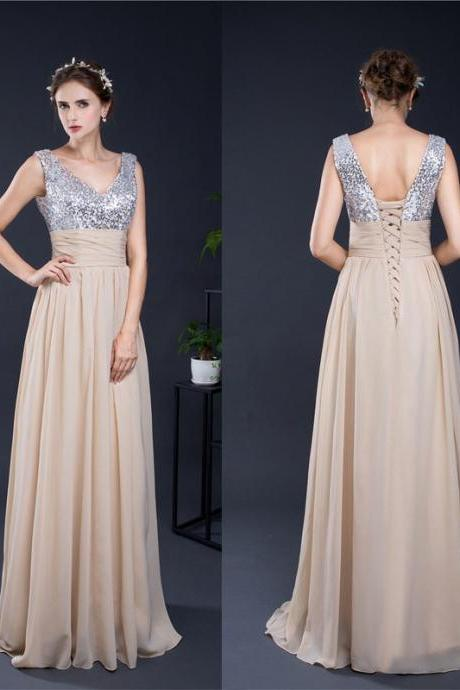 A-line V-neck Prom Dresses,Sexy Sleeveless Prom Gown,Long Chiffon Formal Dresses,Sequined Prom Gowns,2017 Evening Dresses,Floor-length Formal Dress,P043