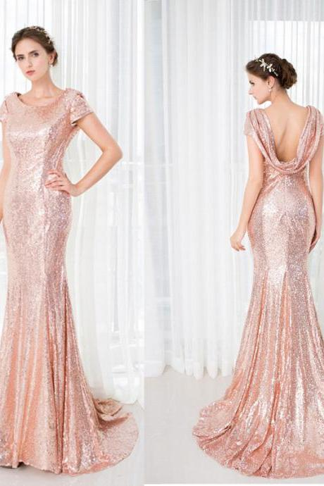 Short Sleeves Prom Dress,Mermaid Prom Dresses,Sequined Prom Gown,New Style Evening Dress,Long Prom Gowns,Mermaid Formal Dress,Fashion Evening Gown,P044