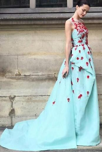 Fashion Sleeveless Prom Dress,Long Scoop Prom Dresses,Embroidery Prom Gown, A-line Embroidery Evening Dress,Formal Dress 2017,P048