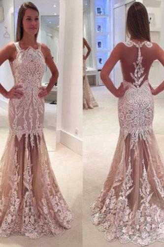 2017 High Quality Lace Prom Dress,Mermaid Prom Dresses,Open Back Prom Dress,Sexy Lace Prom Party Dress with Sweep Train,Sleeveless Tulle Evening Gowns,P051