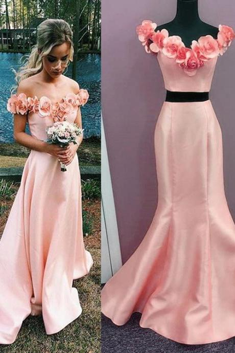 Off Shoulder Appliques Satin Mermaid Prom Dresses,Mermaid Prom Dresses,Two Piece Prom Dress,Fashion Prom Dress With Floral Flower,Sexy Party Dress Long,Custom Made Evening Dress,P055