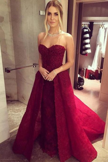 Strapless Prom Dress,Sweetheart Prom Gown 2017,Charming Prom Dress,Appliques Prom Dress,Sweetheart Prom Dress,Lace Prom Dress,Prom Dress Long,Sexy Formal Dress With Ruffles,P061