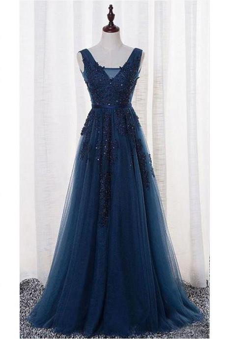 V-neck Prom Dress,A-line Tulle Prom Gowns,Lace Appliqued Navy Prom Dresses,Long Tulle Formal Prom Dresses,Long Prom Dress,Open Back Prom Dress,P064