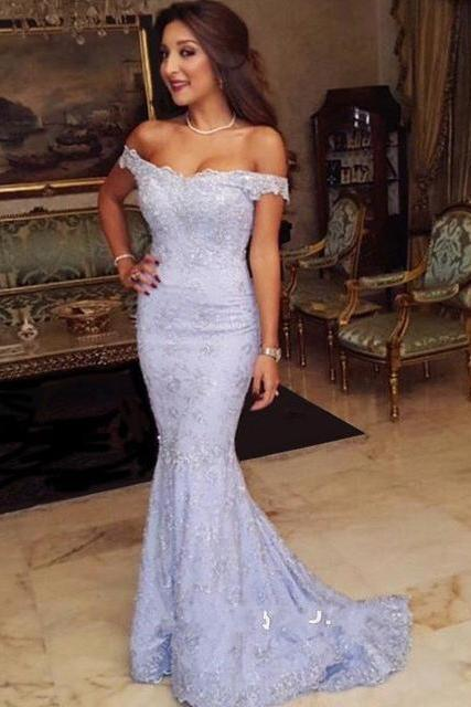 Off-the-shoulder Prom Dress,Lace Prom Dresses 2017,Mermaid Prom Dresses,Evening Dresses,Sweep-Train Modest 2017 Prom Dress,Chic Evening Dress,Mermaid Formal Dress,Party Dress 2017,P072