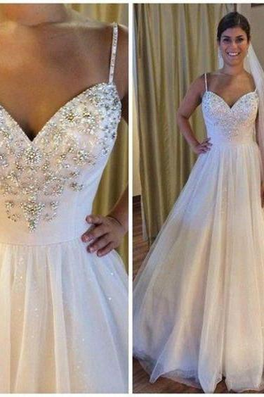 Straps Sweetheart Beaded Wedding Dresses,A Line Tulle Wedding Dress,Sexy Fashion Bridal Dress,Sexy Party Dress,Custom Made Evening Dress,Long Bridal Gown 2017,W011