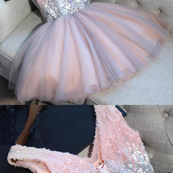 Sequined V-neck Sleeveless Homecoming Dress,Sexy A-line Lace-up Short Tulle Prom Dress Party Dress,Shinning Homecoming Dresses,H097