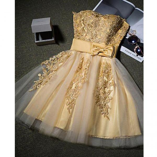 New Strapless Homecoming Dress Gold Appliques Homecoming Gown with Bowknot,Short Prom Dress Party Dress,Mini Tulle Homecoming Dress,H099