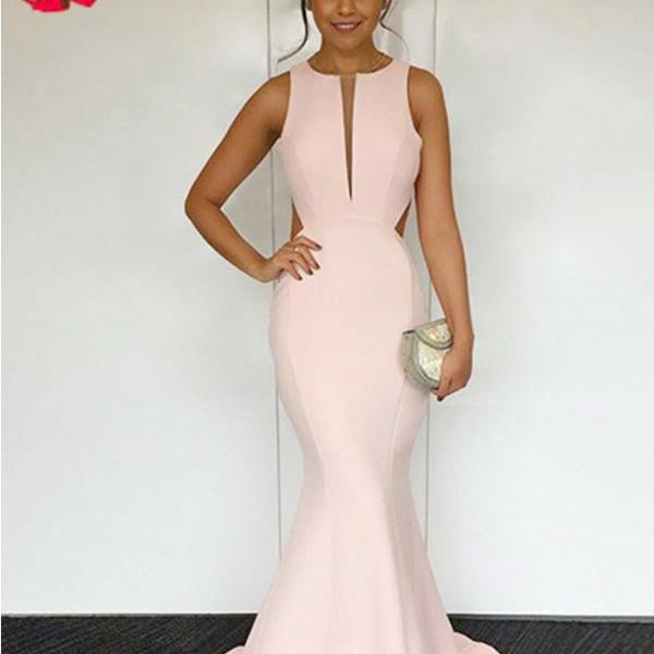Mermaid Round Neck Prom Gown,Sexy Sweep Train Pearl Pink Open Back Prom Dress,Elegant Evening Dresses,P193