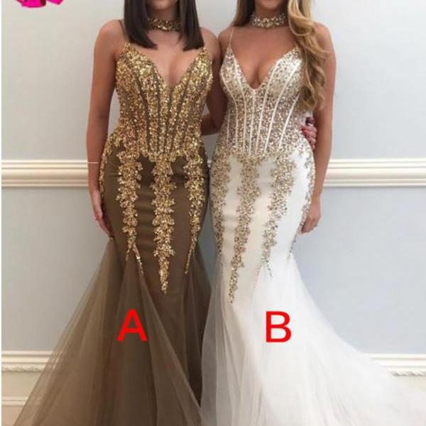 Mermaid Spaghetti Straps V neck Prom Gown,Sexy Sleeveless Tulle Prom Dress with Sequins,New Style Evening Dress,P194