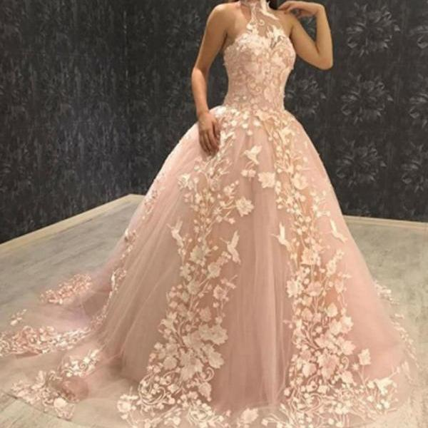 Gorgeous Ball Gown Halter Sweep Train Prom Dress,Pink Tulle Prom Dress with Appliques,New Party Dress with Appliques,P195