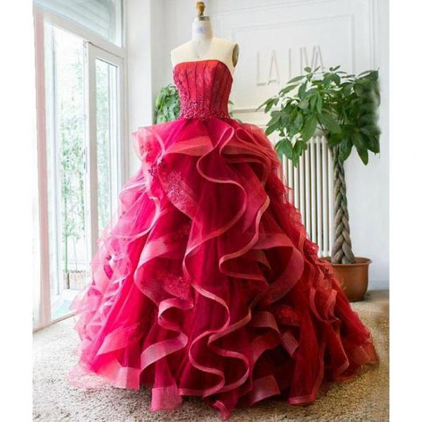 Unique Ruffled Tulle Appliques Prom Dress,Burgundy Long Prom Dress,Strapless Graduation Dress,Ball Gown Evening Dress,Sweet 16 Dresses,P213