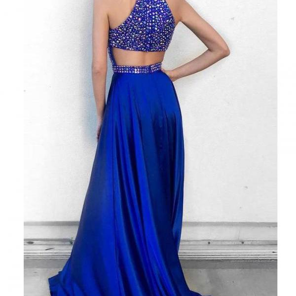 Royal Blue Jewel Sleeveless Rhinestone Formal Prom Dresses,Sparkle Long Graduation Dresses,A-line Woman's Evening Dress,Prom Gowns,P214