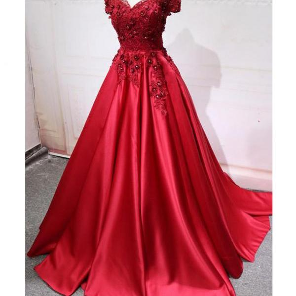 Red Off Shoulder Lace Appliques Long A-line Evening Prom Dresses,Sweep Train A-line Prom Gown with Rhinestone,Elegant Satin Evening Dress,P215