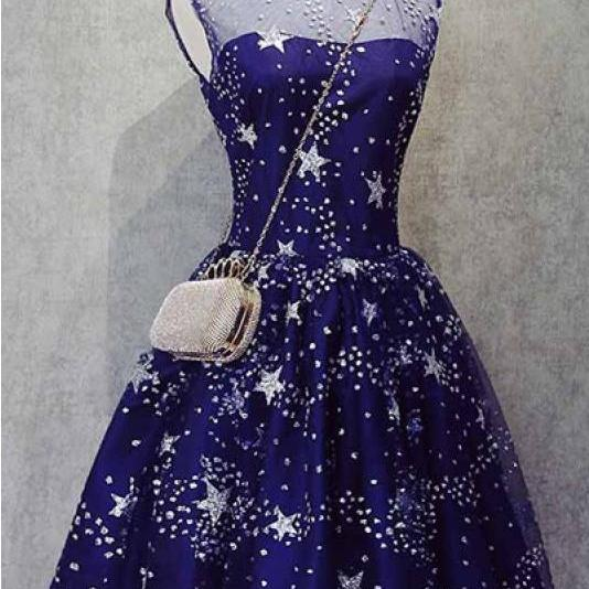 A Line Short Homecoming Dresses with Stars, Cheap Tulle Graduation Dress with Beading, Sweet 16 Dress H275