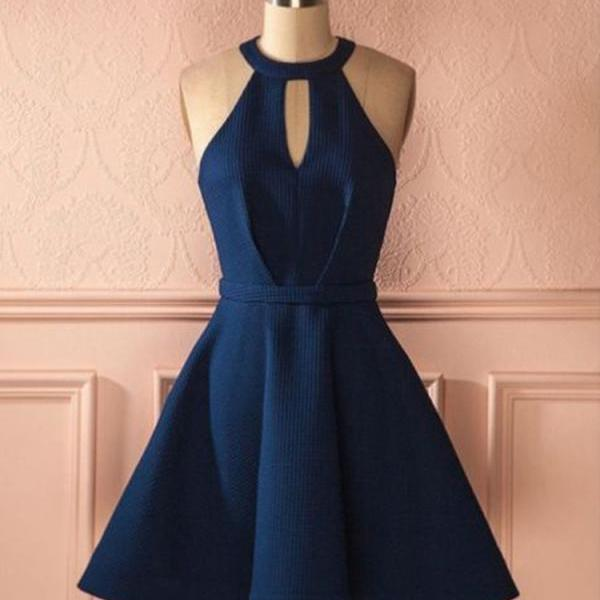Cute A Line Halter Navy Blue Short Dress, Navy Short Homecoming Dress, Cheap A Line Short Prom Dresses H276