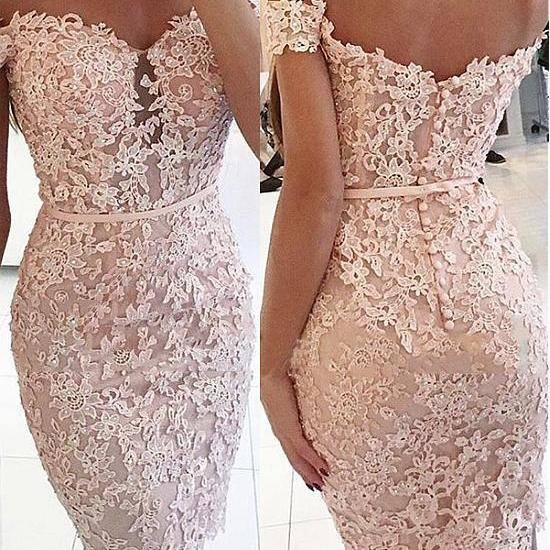 Pink Sheath Off the Shoulder Homecoming Dresses, Cocktail Dresses With Beaded Lace Appliques H278