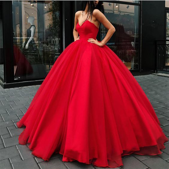 Red Tulle Ball Gowns Wedding Dress,Strapless Wedding Dress, Quinceanera Dress, Puffy Sleeveless Prom Dress P341