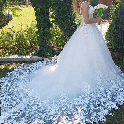 New Style Ball Gown Lace up Tulle Wedding Dresses, Romantic Bridal Dress With Lace Appliques,Lace Tulle Wedding Gowns,Wedding Dress W121
