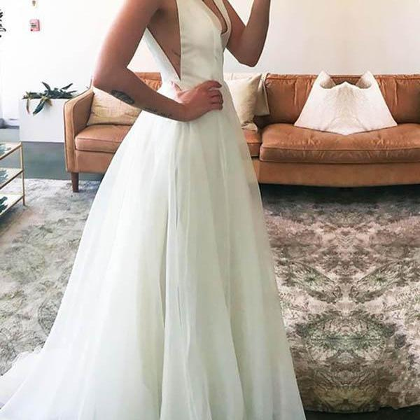 Long V-neck Straps Sweep-Train Sleeveless Bridal Dress, Ivory A-line Tulle Wedding Dress, Cheap Simple Beach Wedding Dress W122