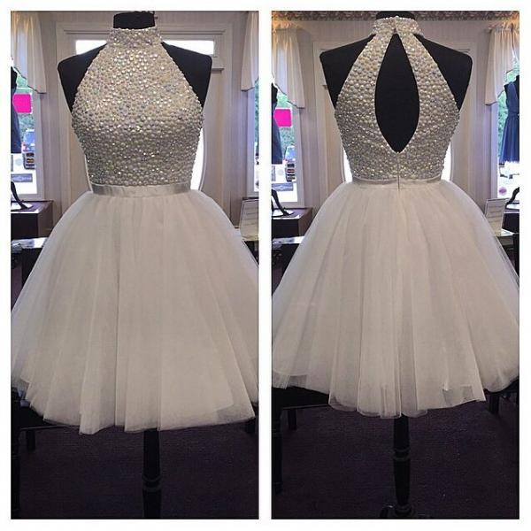 Halter Beaded Tulle Short Homecoming Dress, Cocktail Dress, Party Dress Featuring Cutout Back