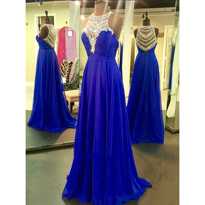 Royal Blue Beading Custom Made Prom Dresses, Floor-Length Evening Dresses,Prom Dresses,XS27