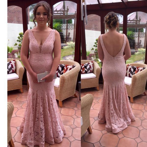 Plus Size V-neck Prom Dress,Mermaid Prom Dresses,Lace Prom Dresses,Fashion Prom Dress,Mermaid Evening Gown,Sexy Party Gown,Custom Made Evening Dress,Open Back Sleeveless Prom Gown,P057