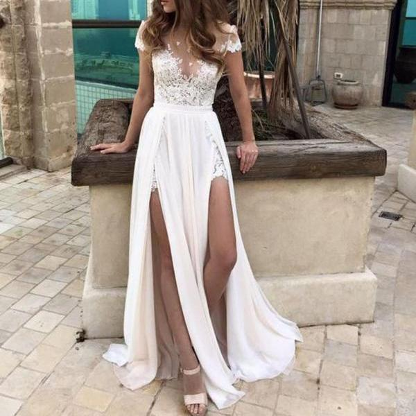 Cap Sleeves Beach Wedding Dress,Sexy Split Prom Dresses,Lace Applique Prom Gown,Long Prom Dresses,Wedding Dress,Lace Wedding Dresses,P058