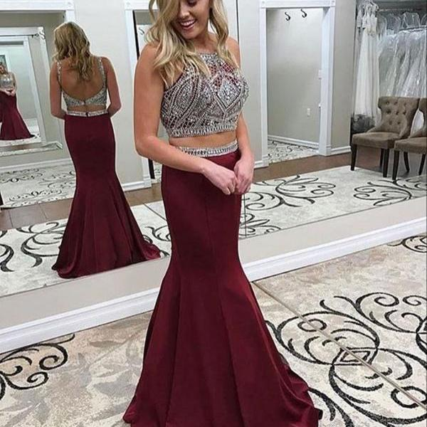 Burgundy Prom Dress,Satin Prom Dress,2 Pieces Formal Dresses,Mermaid Prom Dresses,Fashion Prom Dress,Sexy Party Dress,Custom Made Evening Dress With Beads,P059