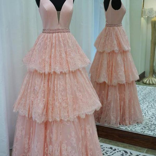 A-line V-neck Prom Gown,Lace Prom Dress,Pearl Pink Satin Top Formal Dress,Fashion Prom Dress With Beads,Sexy Sleeveless Party Dress,Custom Made Evening Dress 2017,P060
