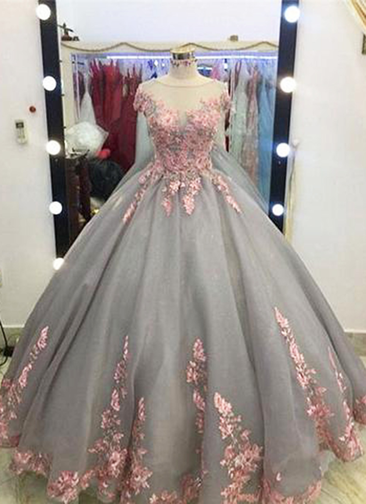 Unique Grey Long Ball Gown Appliqued Cap Sleeves Prom