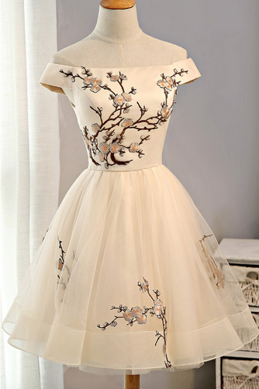 Light Champagne Off Shoulder Homecoming Dress With Embroidery c4767c6d7